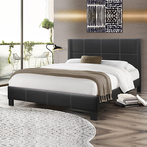 Albany Black Queen PU Leather Bed