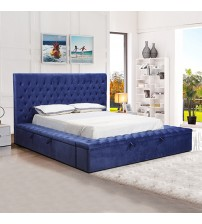Anna Velvet Upholstery Tufted Headboard Storage Bed