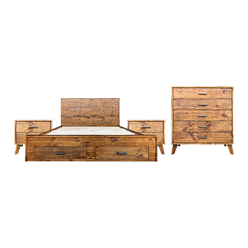 Cob&Co Bedroom Suite 4 pcs in Multiple Size in Rustic Colour