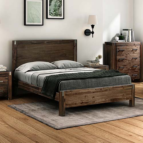 Java Bed Multiple Size Solid Veneered Acacia Panel Legs