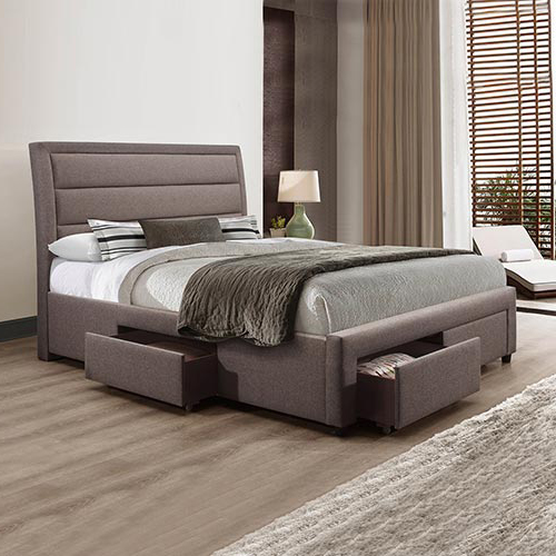 Megan Queen Bed Fabric Light Grey With Storage Drawers