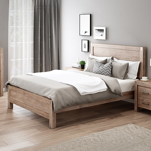 Nowra Bed Multiple Size Solid Veneered Acacia Panel Legs