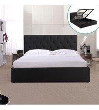 Rome Queen Size Gas Lift  Fabric Storage Bed Frame Black
