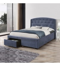 Stella Bed Fabric Navy Blue With Storage Drawers