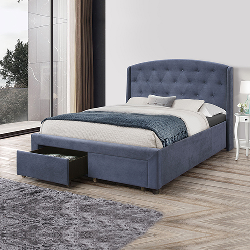 Stella Queen Bed Fabric Navy Blue With Storage Drawers