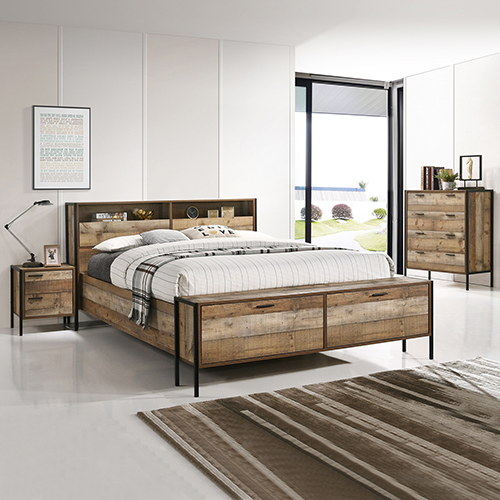 Mascot Oak Colour 4 Pcs Queen Storage Bedroom Suite