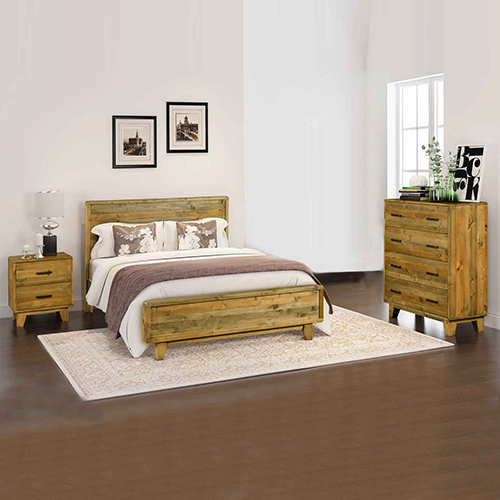 Woodstyle Light Brown 4 pcs Bedroom Suite