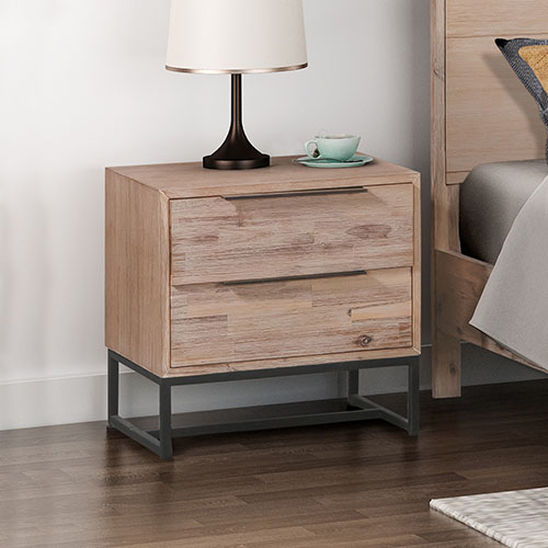 Hannah Two Drawers MDF Bedside Table