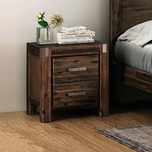 Java Oak & Chocolate Colour Bedside Table