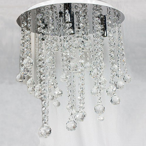 Ceiling Light Glass Crystal Pendant & Metal in Clear