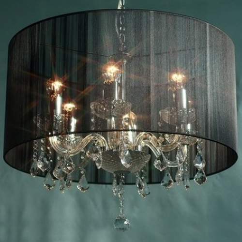 Ceiling Light Glass Crystal Pendant & Metal in Black
