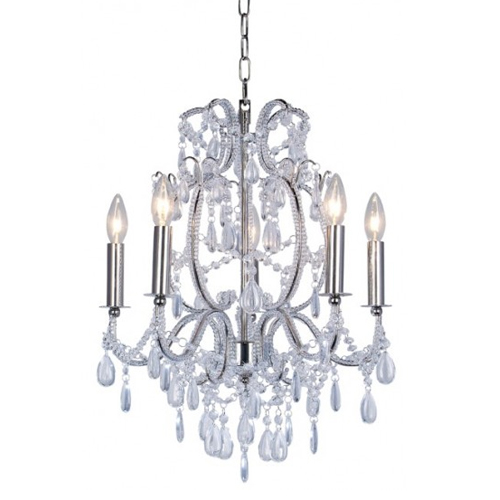 Ceiling Light Metal Frame Crystal Pendant Chain