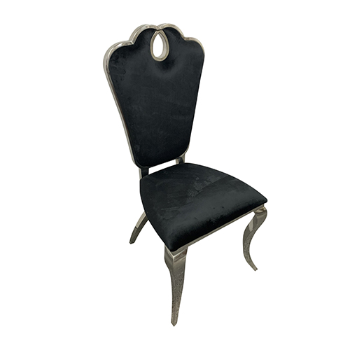 3X Dining Chairs Black Velvet Cabriole Leg Stainless Electroplating Silver Alex