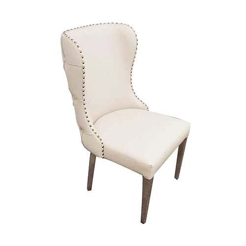 2X Dining Chair Beige Leatherette Upholstery Button Studded Deep Quilting Stainless Electroplating on Legs Silver Crown