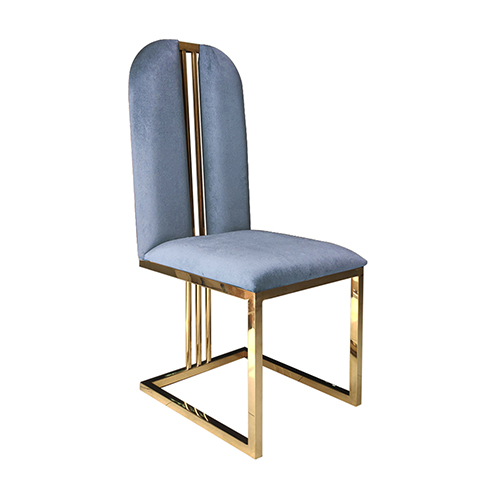 2X Dining Chair Multiple Colour Fabric Aesthetic Bench Leg with Stainless Electroplating Titanium Gold Fancy
