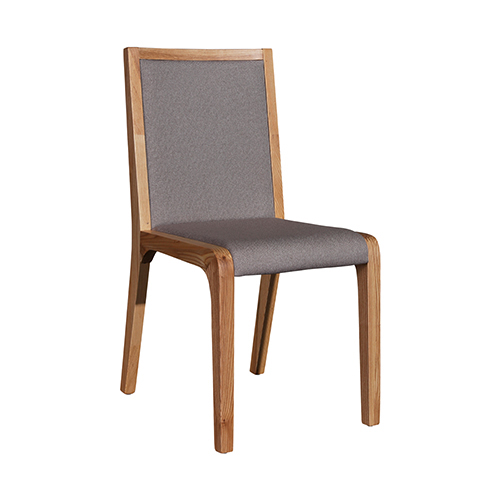Galaxy Gray Fabric & Wooden Glossy 2X Dining Chairs