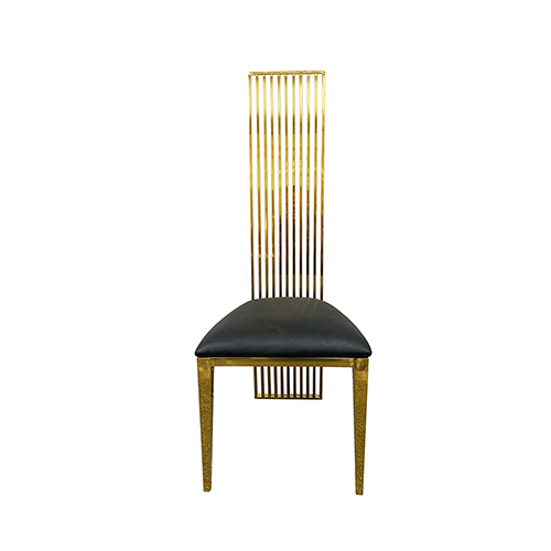 3X Dining Chair Black Leatherette Upholstery Steel Back Support Champagne Gold Stainless Electroplating Jessy
