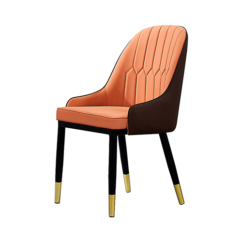 2X Dining Chair Orange Colour Leatherette Upholstery Black and Gold Legs Steel Powder Coating Lotus
