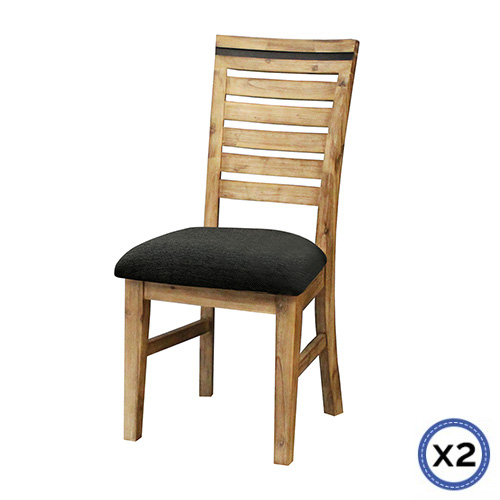 Seashore 2x Leatherette Solid Wood Acacia Dining Chairs