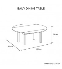Baily Glossy Black & White Colour Dining Table