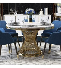 Dining Table Faux Marble Top Spiral Titanium Gold Diana