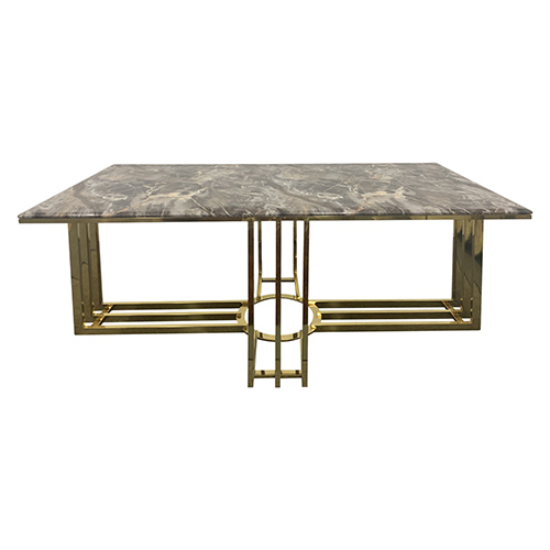 Dining Table Faux Marble Mosaic Style Top Sturdy Feet Daisy