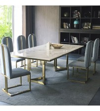 Dining Table White Faux Marble with Titanium Gold Fancy
