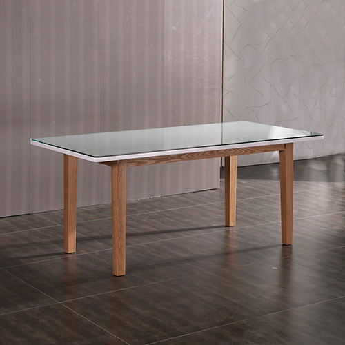 Galaxy White Top and Wooden Frame Glossy Dining Table