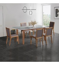 Galaxy White Ash Glossy Dining Table With 6X Chairs