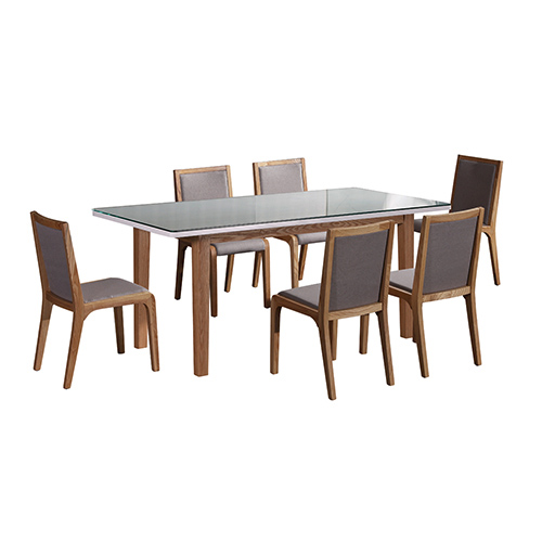 Galaxy White Top and Wooden Frame Glossy Dining Table With 6X Chairs