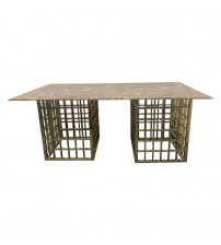 Faux Marble Top Stainless Funky Legs Dining Set Jessy