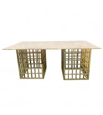 Faux Marble Stainless Funky Legs Dining Table Jessy