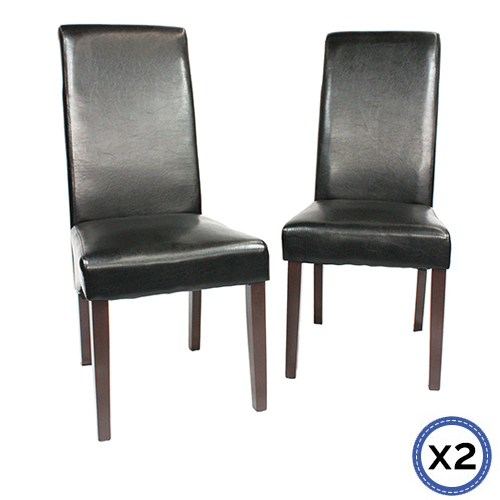 2x Wooden Frame Leatherette Dining Chairs