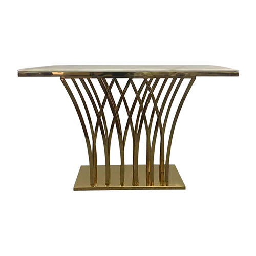 Hall Table White Faux Marble Gold Diana