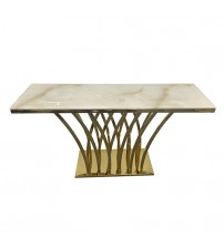 Hall Table White Faux Marble Electroplating Titanium Gold Diana