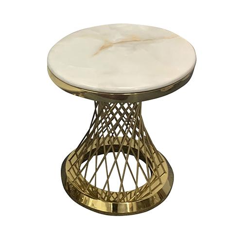 Lamp Table Round Shape Titanium Gold Diana