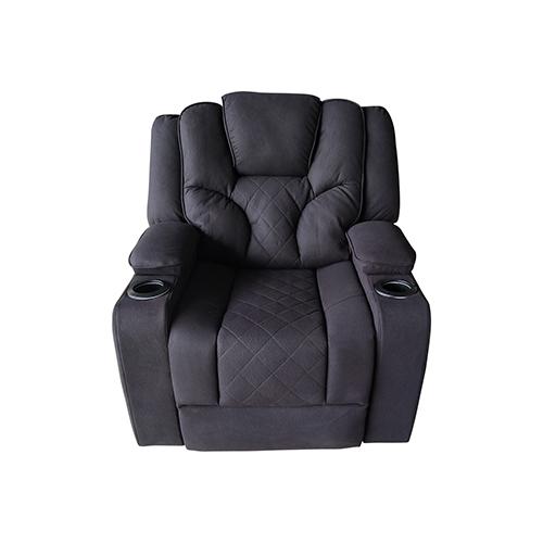 Arnold Adjustable Rhino Fabric Black Recliner Sofa 1R