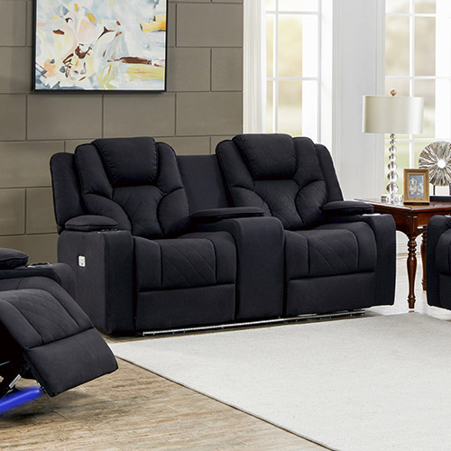 Arnold Adjustable Rhino Fabric Black Recliner Sofa 2R
