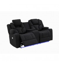 Arnold Rhino Fabric Black Recliner Sofa 2R