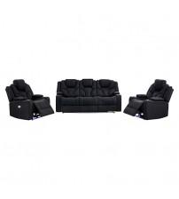 Arnold Rhino Fabric Black Recliner Sofa 3R+1R+1R