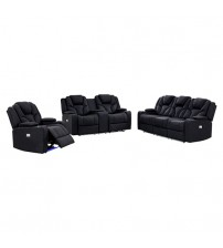 Arnold Rhino Fabric Black Recliner Sofa 3R+2R+1R