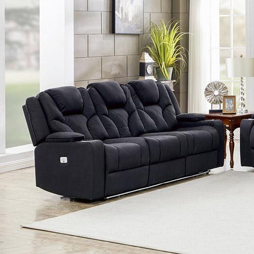 Arnold Adjustable Rhino Fabric Black Recliner Sofa 3R