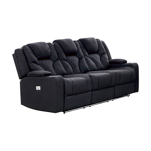 Arnold Rhino Fabric Black Recliner Sofa 3R