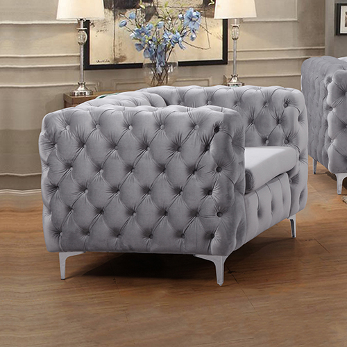 Jacques Single Seater Black/Grey Button Tufted Sofa