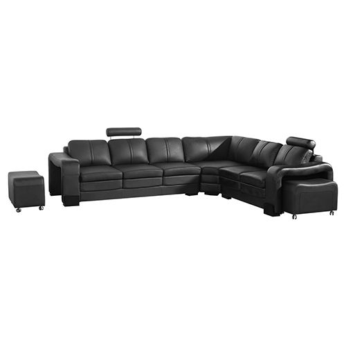 Majestic Black 6 Seater Corner Sofa