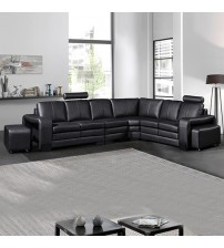 Majestic Black Bonded Leather 6 Seater Corner Sofa (New)