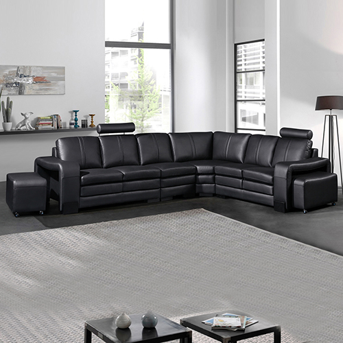 Majestic Black Bonded Leather 6 Seater Corner Sofa (New)