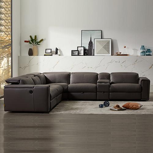 Corner Sofa Square Wedge Finest Leatherette Grey Electric Recliner Atlanta