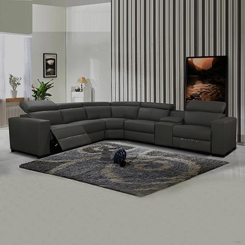 6 Seater Leather Adjustable Headrest Luxurious Sofa Boston