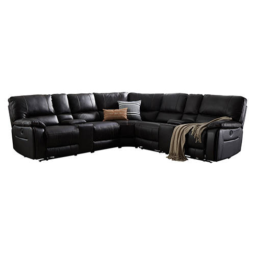 Round Corner Sofa Finest Leatherette Dark Brown Electric Recliner 2x Cup Holders Chester